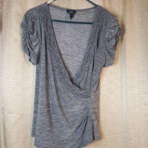 AGB deep V gray blouse